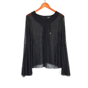 Gracia NWT lace bell sleeve black top blouse large